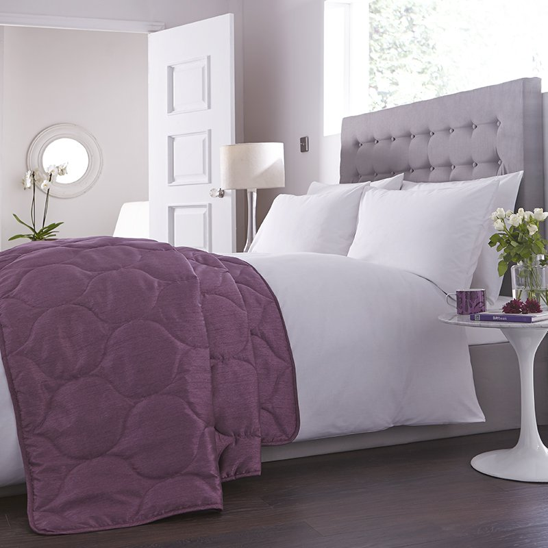 Charlotte Thomas Francesca Quilted Bed Throw In Plum
