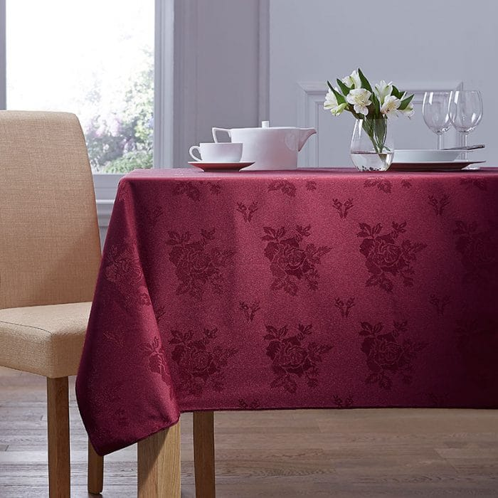 Shop Damask Rose Table Cloth in Burgundy