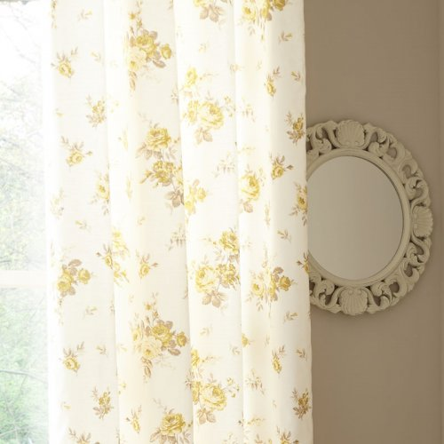 Annabella Eyelet Curtains In Yellow Amp White
