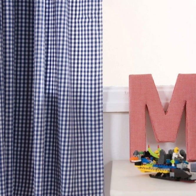 Babyface Gingham Pencil Pleat Curtains in Navy