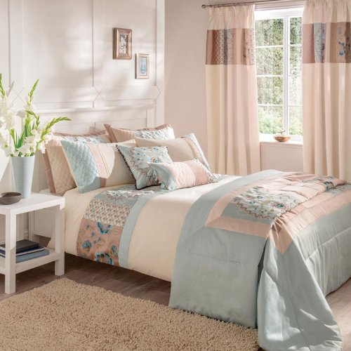 Catherine Lansfield Border Patchwork Bed Set In Duck Egg Blue