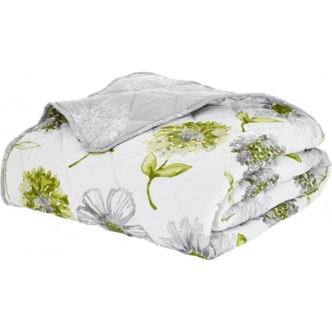 Charlotte Thomas Francesca Quilted Bed Throw In Plum: Catherine Lansfield Banbury Floral Bed Throw In Green