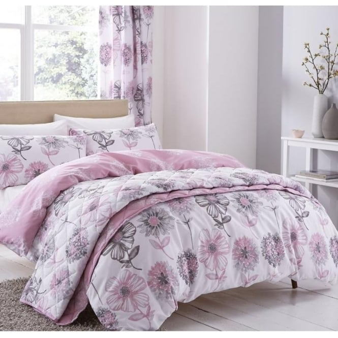Catherine Lansfield Banbury Floral Eyelet Curtains In Pink