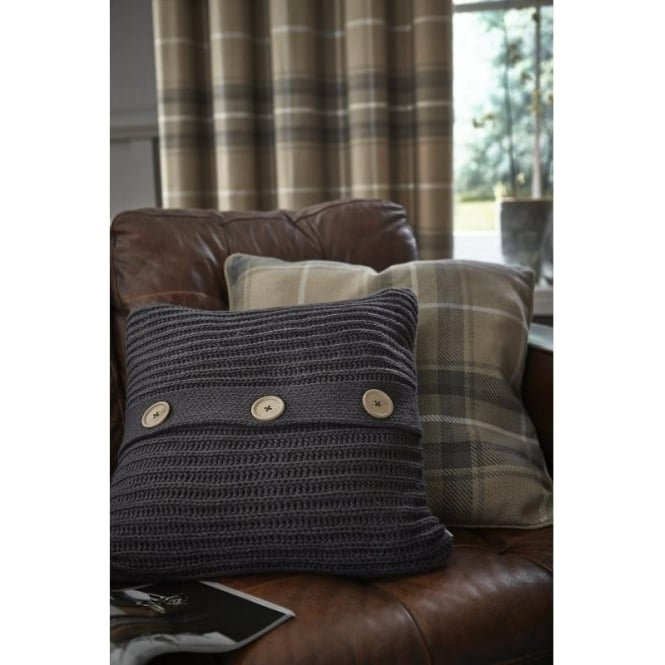Catherine Lansfield Brushed Heritage Check Cushion Cover in Grey