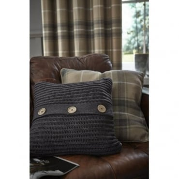Brushed Heritage Check Cushion Cover in Grey