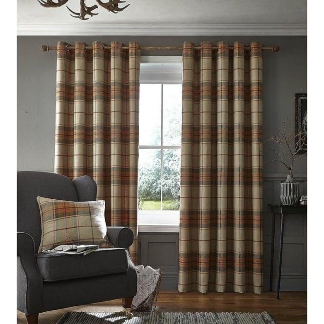 Catherine Lansfield Brushed Heritage Check Eyelet Curtains in Burnt Orange