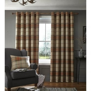 Brushed Heritage Check Eyelet Curtains in Burnt Orange