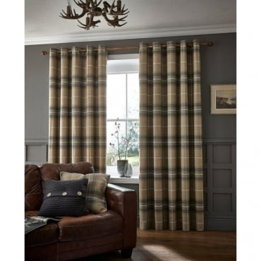 Brushed Heritage Check Eyelet Curtains in Grey