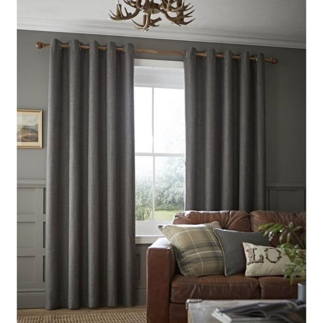 Catherine Lansfield Brushed Heritage Plain Eyelet Curtains in Grey
