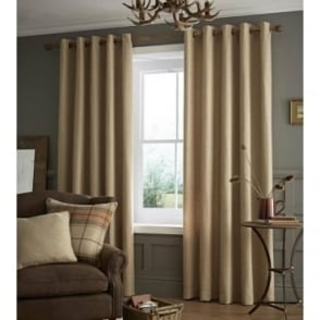 Brushed Heritage Plain Eyelet Curtains in Oatmeal