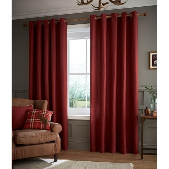 Catherine Lansfield Brushed Heritage Plain Eyelet Curtains in Red
