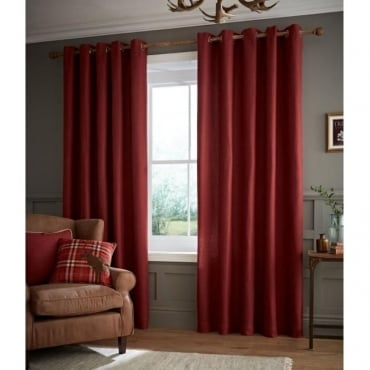 Brushed Heritage Plain Eyelet Curtains in Red