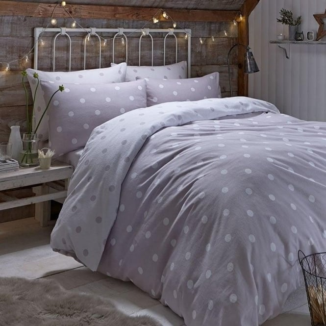 Catherine Lansfield Brushed Polka Dot Duvet Set in Natural