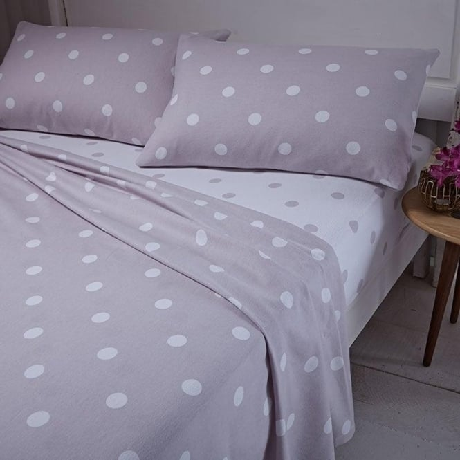 Catherine Lansfield Brushed Polka Dot Sheet & Pillowcase Set in Natural