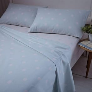 Brushed Polka Sheet & Pillowcase Set in Duck Egg Blue