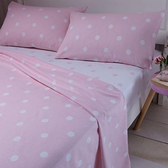 Catherine Lansfield Brushed Polka Sheet & Pillowcase Set in Pink