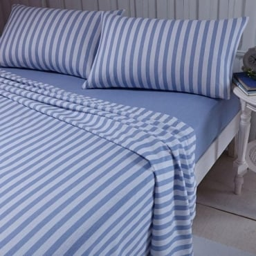 Brushed Stripe Sheet & Pillowcase Set in Blue