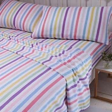 Brushed Stripe Sheet & Pillowcase Set in Multi