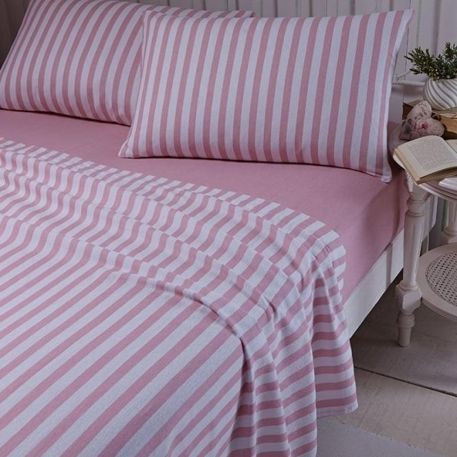 Catherine Lansfield Brushed Stripe Sheet & Pillowcase Set in Pink