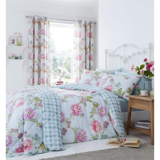 Catherine Lansfield Chrysanthemum Check Eyelet Curtains