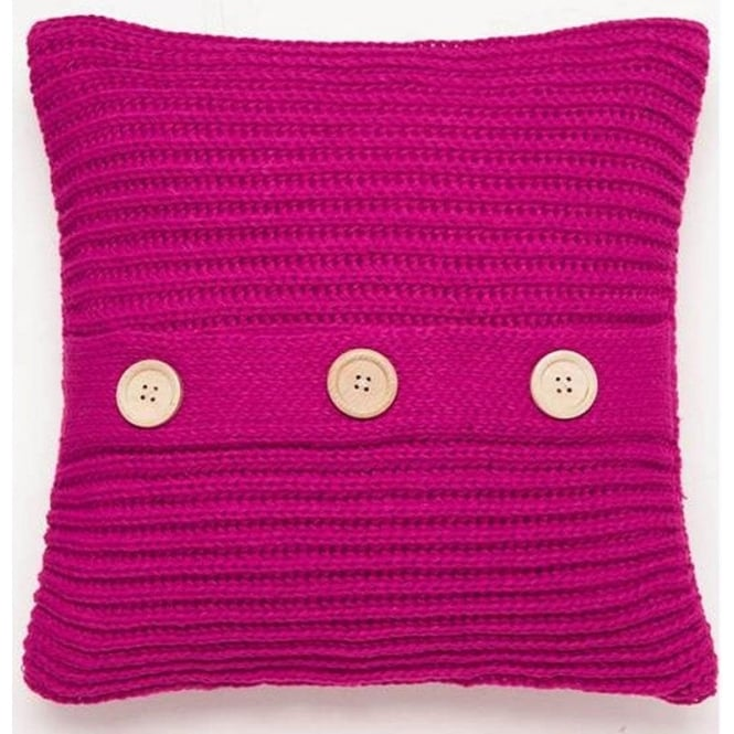 Catherine Lansfield Chunky Knit Cushion Cover in Pink