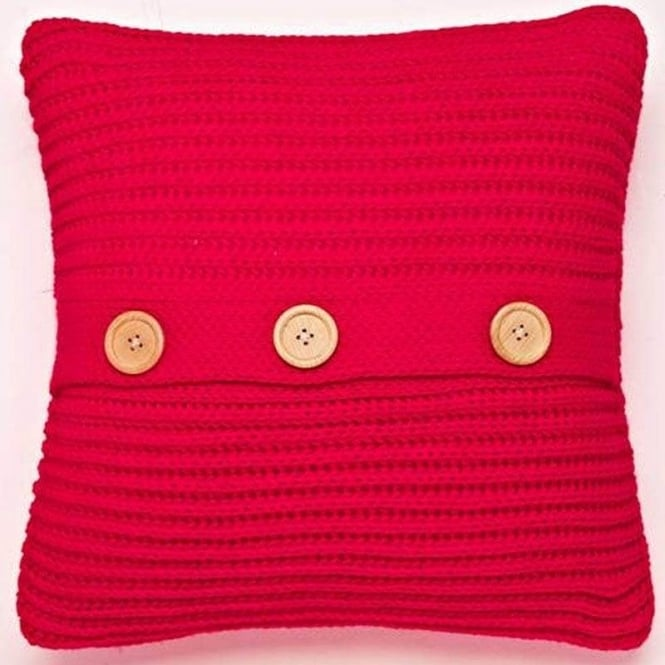 Catherine Lansfield Chunky Knit Cushion Cover in Red