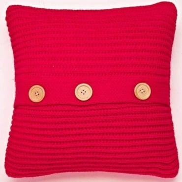 Chunky Knit Cushion Cover in Red