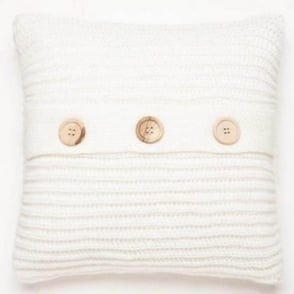 Chunky Knit Cushion Cover in White