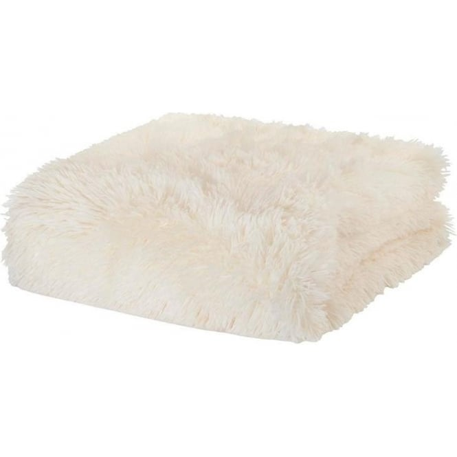 Catherine Lansfield Cuddly Throw in Cream