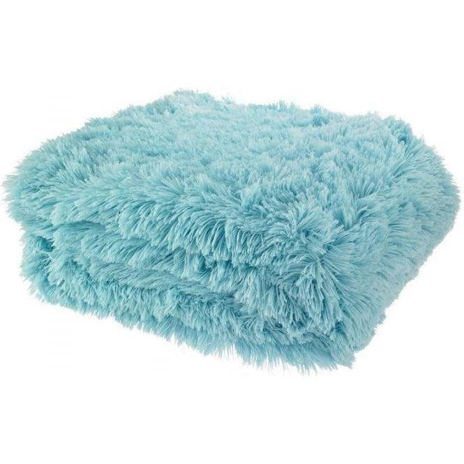 Catherine Lansfield Cuddly Throw in Duck Egg Blue