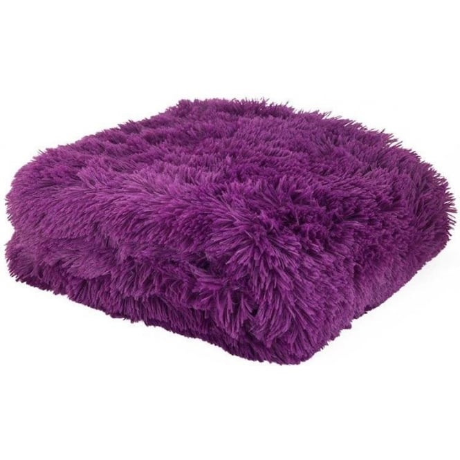 Catherine Lansfield Cuddly Throw in Purple