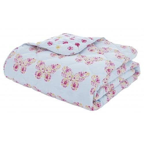 Charlotte Thomas Francesca Quilted Bed Throw In Plum: Catherine Lansfield Embroidered Butterfly Bed Throw