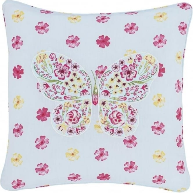 Catherine Lansfield Embroidered Butterfly Cushion Cover