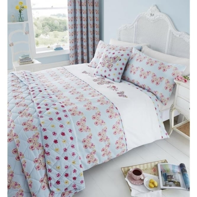 Catherine Lansfield Embroidered Butterfly Duvet Set