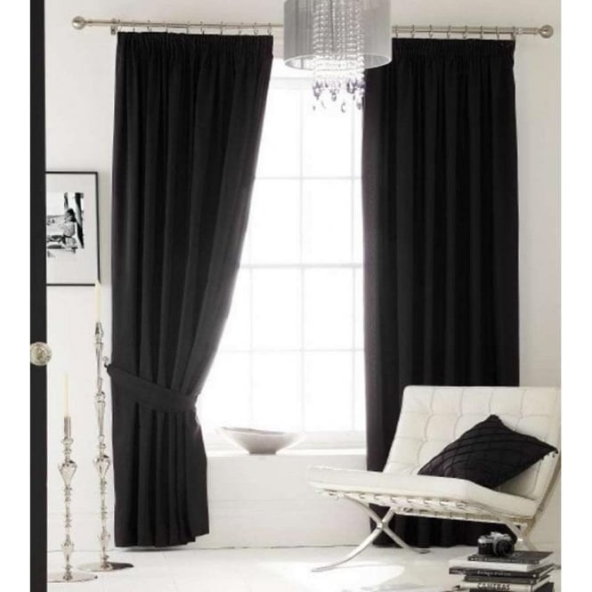 Catherine Lansfield Faux Silk Eyelet Curtains in Black