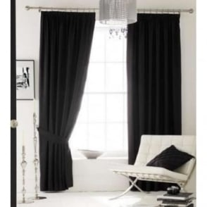 Faux Silk Eyelet Curtains in Black