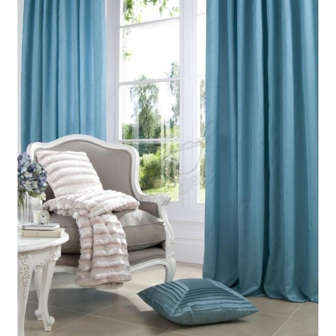 Catherine Lansfield Faux Silk Eyelet Curtains in Blue