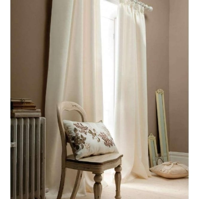 Catherine Lansfield Faux Silk Eyelet Curtains in Cream