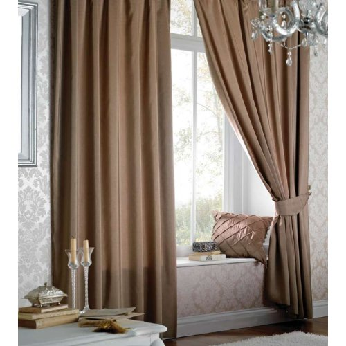Catherine Lansfield Faux Silk Eyelet Curtains in Light Brown