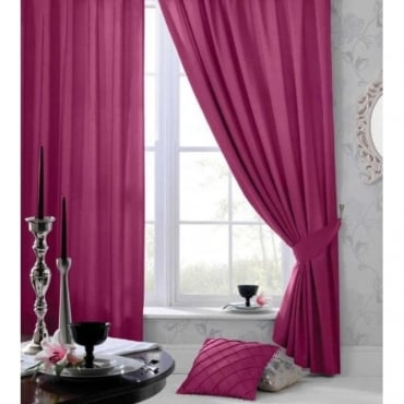 Faux Silk Eyelet Curtains in Pink