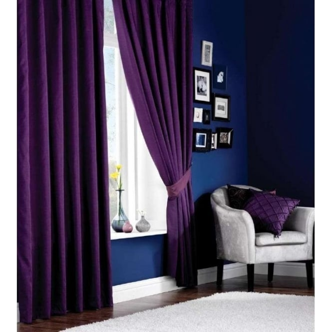 Catherine Lansfield Faux Silk Eyelet Curtains in Purple