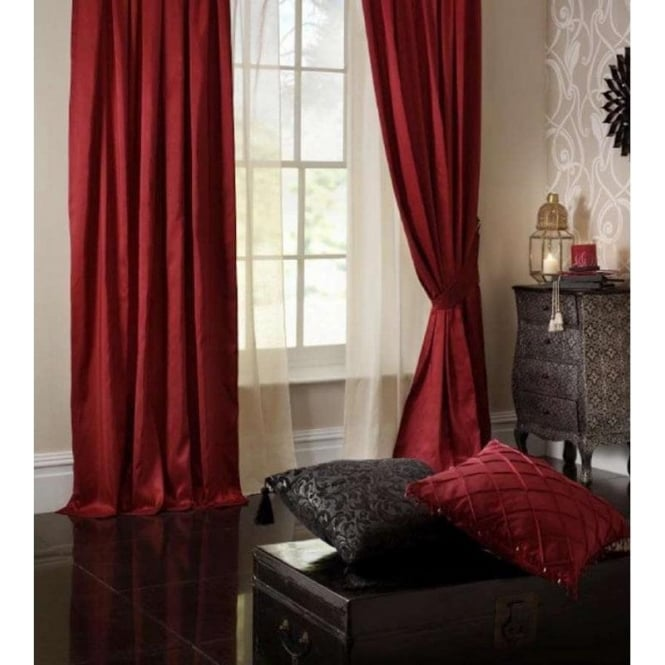 Catherine Lansfield Faux Silk Eyelet Curtains in Red