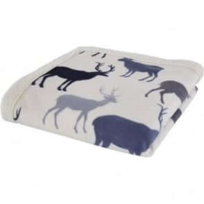 Grampian Stag Bed Throw in Navy