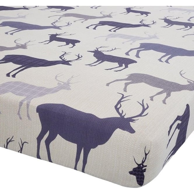 Catherine Lansfield Grampian Stag Fitted Sheet in Navy