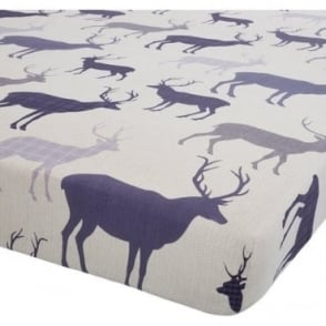Grampian Stag Fitted Sheet in Navy