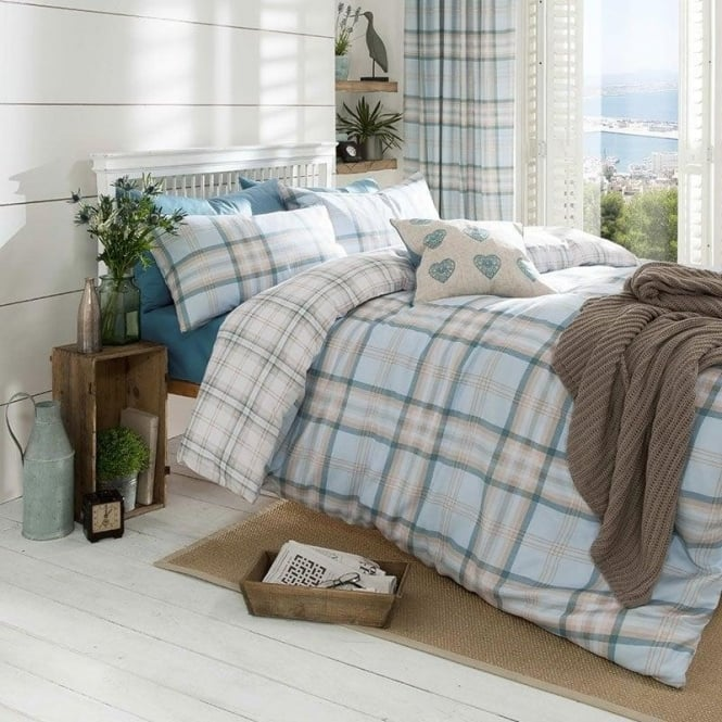 Catherine Lansfield Kelso Check Duvet Set in Duck Egg Blue