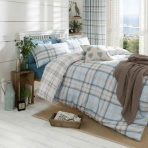 Kelso Check Duvet Set in Duck Egg Blue