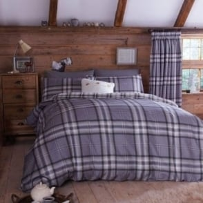 Kelso Check Duvet Set in Grey