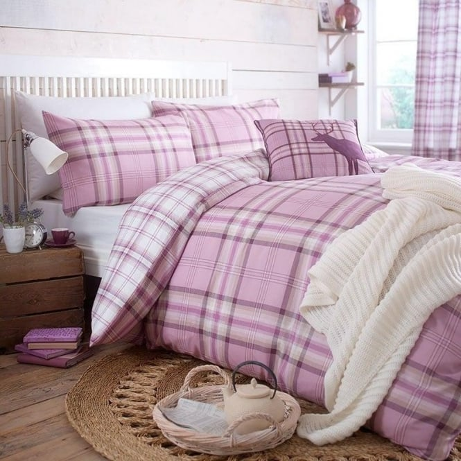 Catherine Lansfield Kelso Check Duvet Set in Heather