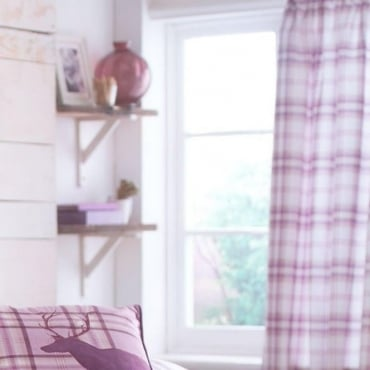 Kelso Check Eyelet Curtains in Heather